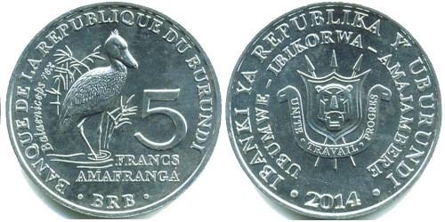 5 франков 2014 Бурунди — Balaeniceps rex — Королевская цапля (Китоглав)