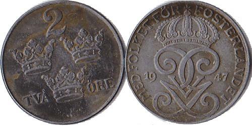 2 эре 1947 Швеция