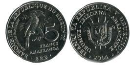 5 франков 2014 Бурунди — Bycanistes bucinator — Калао-трубач