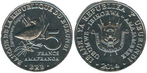 5 франков 2014 Бурунди — Sarothrura elegans — Пёстрый пушистый погоныш