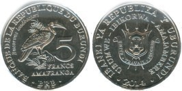 5 франков 2014 Бурунди — Bucorvus leadbeateri — Кафрский рогатый ворон