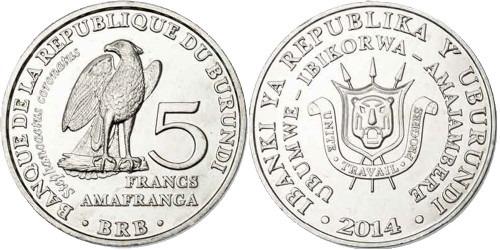 5 франков 2014 Бурунди — Stephanoaetus coronatus — Венценосный орёл