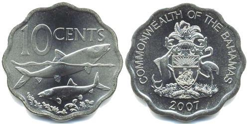 10 центов 2007 Багамские Острова UNC