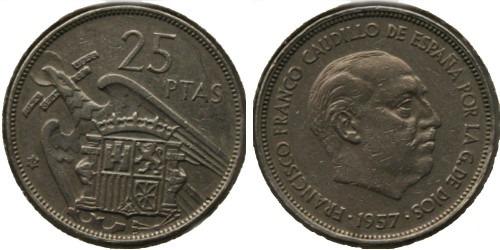 25 песет 1957 Испания — 65 внутри звезды