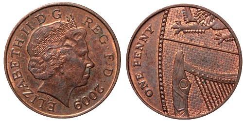 1 новый пенни 2009 Великобритания