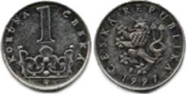 1 крона 1997 Чехия