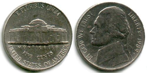 5 центов 1989 P США