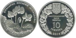 10 гривен 2014 Украина — Цикламен косский (Кузнецова) — серебро