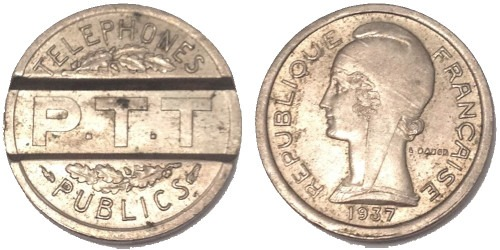 Телефонный жетон 1937 Франция – P.T.T. Telephones Publics