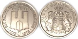 Медаль 100 лет монетному двору Гамбурга — 100 Jahre Hamburgische Münze 1875 J 1975