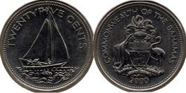 25 центов 2000 Багамские Острова