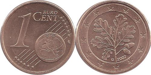 1 евроцент 2007 «G» Германия