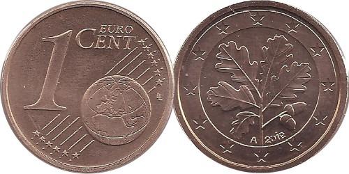 1 евроцент 2012 «А» Германия