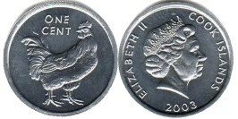 1 цент 2003 Острова Кука — Петух UNC