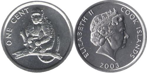 1 цент 2003 Острова Кука — Обезьяна UNC