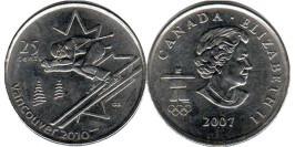 25 центов 2007 Канада — XXI зимние Олимпийские Игры, Ванкувер 2010 — Горные лыжи