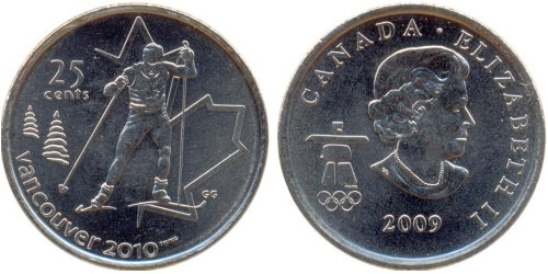 25 центов 2009 Канада — XXI зимние Олимпийские Игры, Ванкувер 2010 — Лыжные гонки