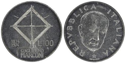100 лир 1974 Италия — 100 лет со дня рождения Гульельмо Маркони