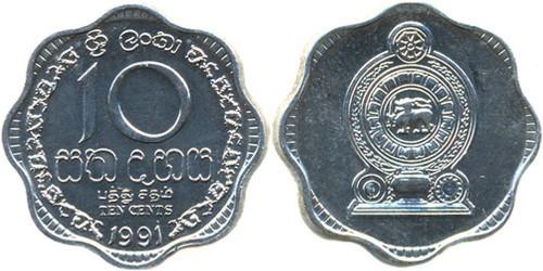 10 центов 1991 Шри-Ланка