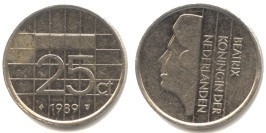 25 центов 1989 Нидерланды