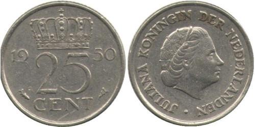 25 центов 1950 Нидерланды
