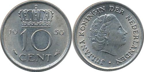 10 центов 1956 Нидерланды