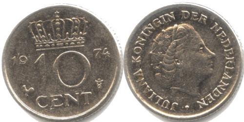 10 центов 1974 Нидерланды