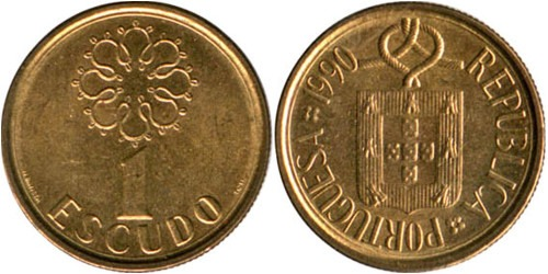1 эскудо 1990 Португалия