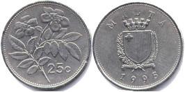 25 центов 1995 Мальта