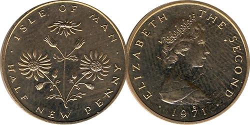 ½ нового пенни 1971 остров Мэн