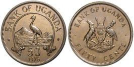 50 центов 1976 Уганда — Восточный венценосный журавль UNC