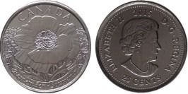 25 центов 2015 Канада — 100 лет стихотворению «На полях Фландрии» UNC