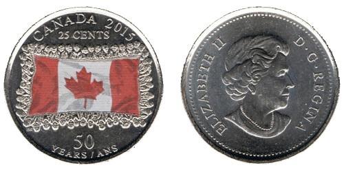 25 центов 2015 Канада — 50 лет флагу Канады UNC