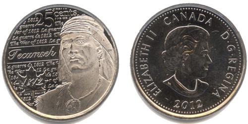 25 центов 2012 Канада — Война 1812 года — Вождь Шайенов Текумсе UNC