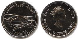 25 центов 1999 Канада — Миллениум — Ноябрь 1999, Авиасообщение с севером aUNC