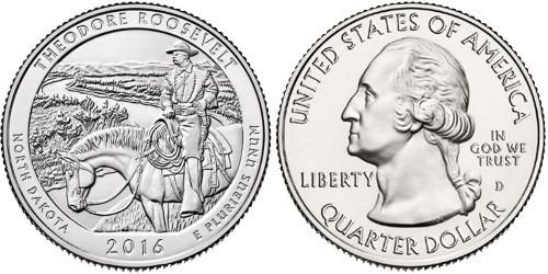 25 центов 2016 D США — Национальный парк Теодор-Рузвельт Северная Дакота — Theodore Roosevelt UNC