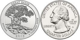 25 центов 2013 D США — Национальный парк Грейт-Бейсин (Невада) UNC