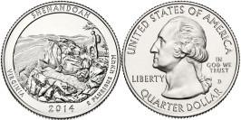 25 центов 2014 D США — Национальный парк Шенандоа (Виргиния) UNC