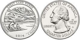 25 центов 2014 D США — Национальный парк Грейт-Санд-Дьюнс (Колорадо) UNC