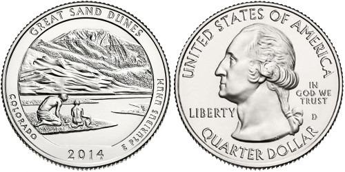 25 центов 2014 D США-Национальный парк Грейт-Санд-Дьюнс Колорадо-Great Sand Dunes National Park UNC