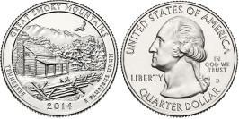 25 центов 2014 D США — Национальный парк Грейт-Смоки-Маунтинс (Теннесси) UNC