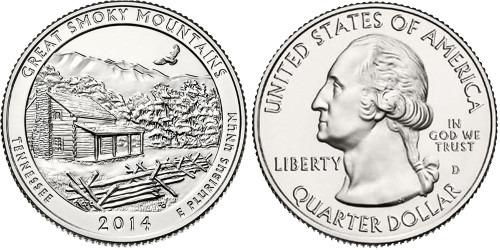 25 центов 2014 D США — Национальный парк Грейт-Смоки-Маунтинс Теннесси — Great Smoky Mountains UNC