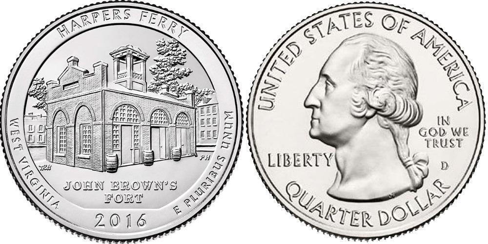 25 центов 2016 D США — Национальный исторический парк Харперс Ферри (Западная Виргиния) UNC