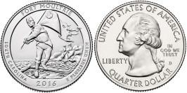 25 центов 2016 D США — Форт Молтри Южная Каролина — Fort Moultrie South Carolina UNC