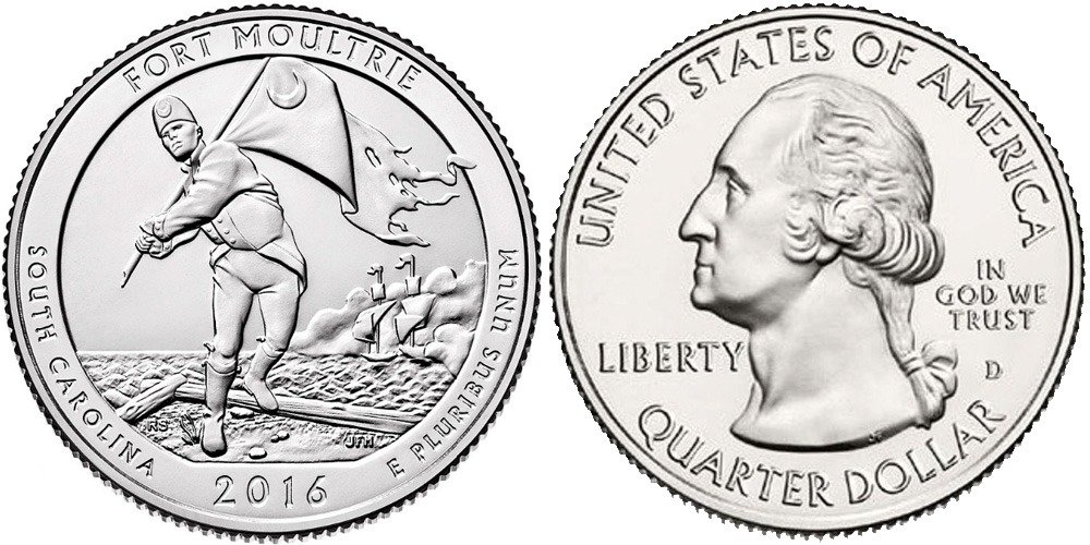 25 центов 2016 D США — Форт Молтри (Южная Каролина) UNC