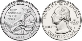 25 центов 2016 D США — Национальный исторический парк Камберленд-Гэп (Кентукки) UNC