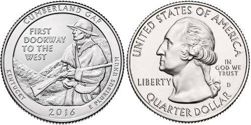 25 центов 2016 D США — Национальный исторический парк Камберленд-Гэп Кентукки — Cumberland Gap UNC
