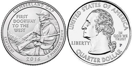 25 центов 2016 P США — Национальный исторический парк Камберленд-Гэп Кентукки — Cumberland Gap UNC