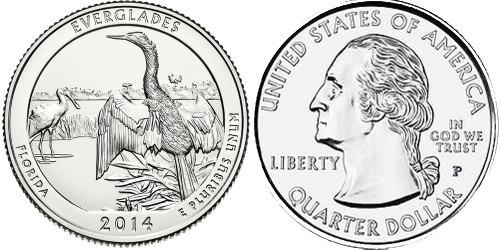 25 центов 2014 P США — Национальный парк Эверглейдс Флорида — Everglades Florida National Park