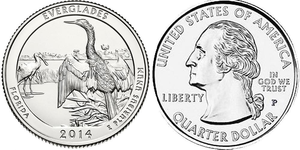 25 центов 2014 P США — Национальный парк Эверглейдс (Флорида)